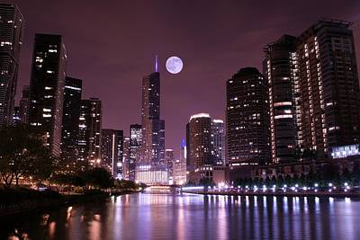 Lavender Chicago Nights Poster by Frozen in Time Fine Art Photography