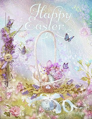Poster featuring the mixed media Lavender Easter by Mo T