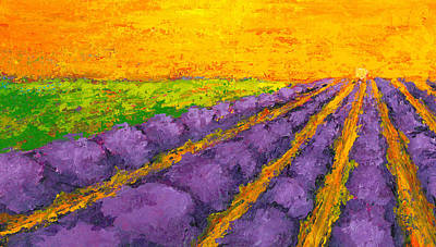 Lavender Field A Modern Impressionistic Artwork In Palette Knife Poster by Patricia Awapara