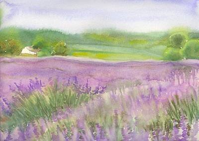 Poster featuring the painting Lavender Field In Italy by Yolanda Koh