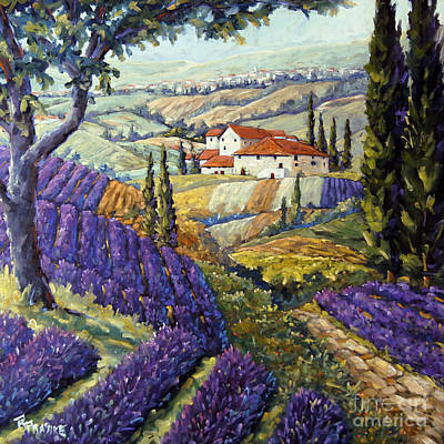 Lavender Fields Tuscan By Prankearts Fine Arts Poster by Richard T Pranke