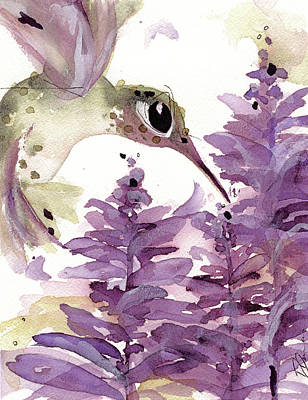 Poster featuring the painting Lavender Hummer by Dawn Derman