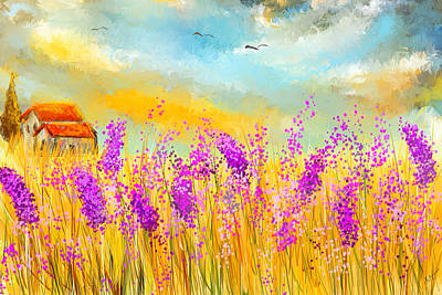 Lavender Memories - Lavender Field Art Poster by Lourry Legarde