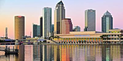 Lavender Tampa Skyline Poster by Frozen in Time Fine Art Photography