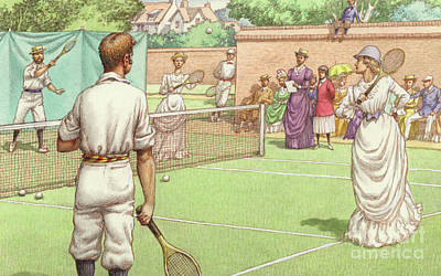 Lawn Tennis Being Played In The Victorian Age Poster