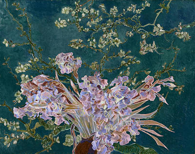 Poster featuring the digital art Layered 4 Van Gogh by David Bridburg