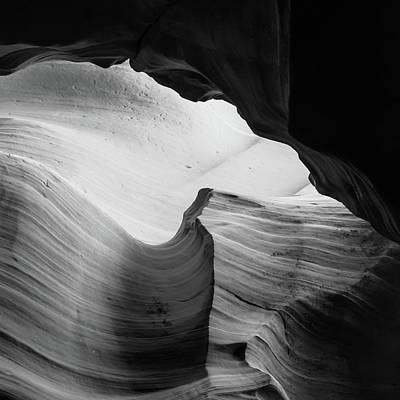 Poster featuring the photograph Layered Shadows - Black And White - Antelope Canyon by Gregory Ballos