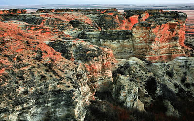Poster featuring the photograph Layers In The Kansas Badlands by Kyle Findley