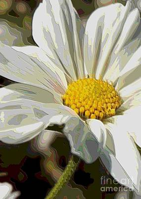Layers Of A White Cosmos Flower - Digital Art Poster by Carol Groenen