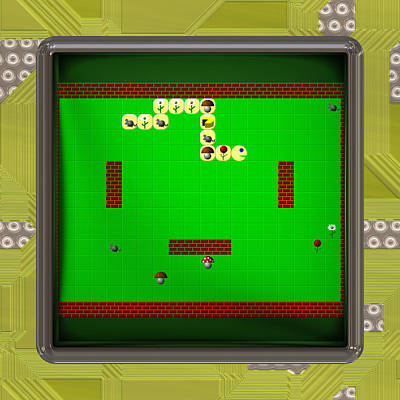 Lcd Screen With Retro Style Game Generated Texture Poster by Miroslav Nemecek