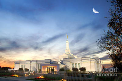 Lds Montreal Temple At Twilight Poster