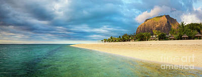 Le Morne Brabant At Sunset. Panorama Poster by MotHaiBaPhoto Prints
