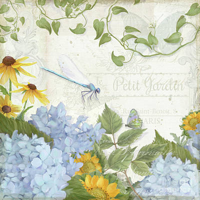 Poster featuring the painting Le Petit Jardin 2 - Garden Floral W Dragonfly, Butterfly, Daisies And Blue Hydrangeas by Audrey Jeanne Roberts