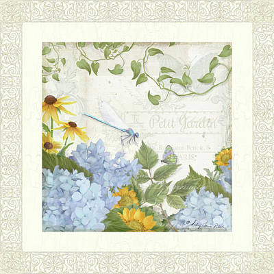 Poster featuring the painting Le Petit Jardin 2 - Garden Floral W Dragonfly, Butterfly, Daisies And Blue Hydrangeas W Border by Audrey Jeanne Roberts