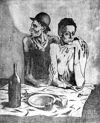 Poster featuring the painting Le Repas Frugal by Pg Reproductions