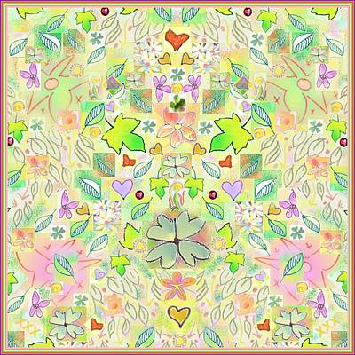 Leaf And Flower And Heart Pattern  Poster