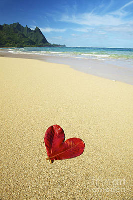 Leaf Heart On Beach Poster