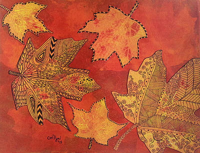 Leaf Prints And Zentangles Poster by Michelle Vyn