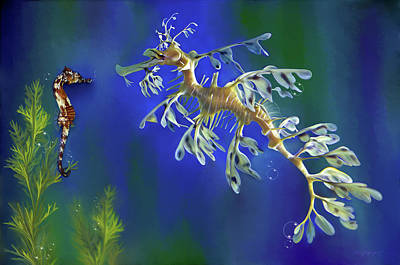 Poster featuring the digital art Leafy Sea Dragon by Thanh Thuy Nguyen