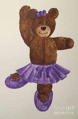 Poster featuring the painting Leah's Ballerina Bear 1 by Tamir Barkan