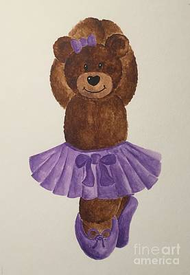 Poster featuring the painting Leah's Ballerina Bear 3 by Tamir Barkan