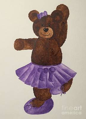 Poster featuring the painting Leah's Ballerina Bear 4 by Tamir Barkan