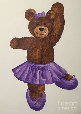 Poster featuring the painting Leah's Ballerina Bear 5 by Tamir Barkan