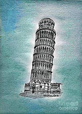 Leaning Tower Of Pisa - Blue Abstract Poster by Scott D Van Osdol