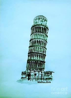 Leaning Tower Of Pisa - Blue Background Poster by Scott D Van Osdol