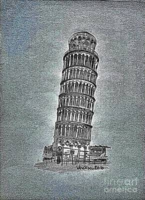 Leaning Tower Of Pisa - Blue Textured Background Poster by Scott D Van Osdol