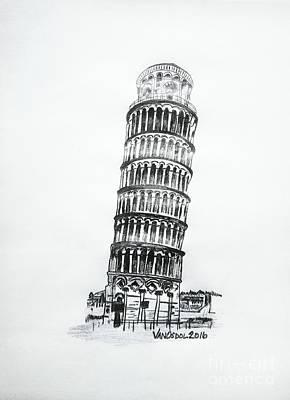 Leaning Tower Of Pisa Graphite Pencil Sketch Poster by Scott D Van Osdol