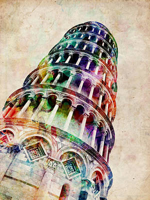 Leaning Tower Of Pisa Poster by Michael Tompsett