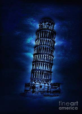 Leaning Tower Of Pisa - Moonlight Abstract Poster by Scott D Van Osdol