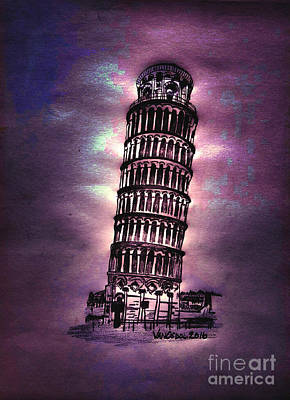 Leaning Tower Of Pisa - Purple Moonlight Poster