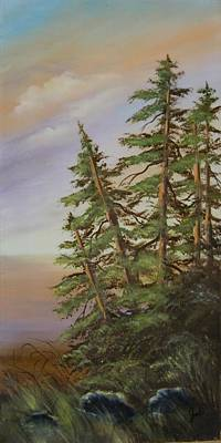 Poster featuring the painting Leaning Trees by Joni McPherson