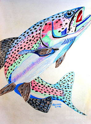 Leaping Rainbow Trout - Colored Pencil Poster