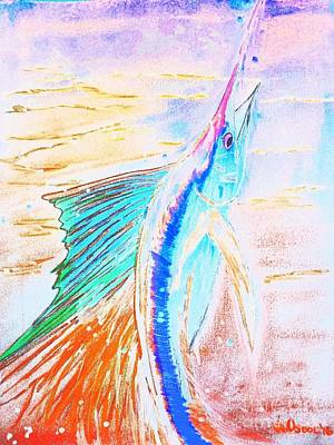 Leaping Sailfish - Colorful Abstract Poster by Scott D Van Osdol