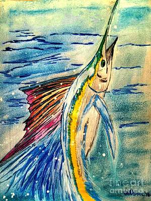 Leaping Sailfish - Pastels Poster by Scott D Van Osdol