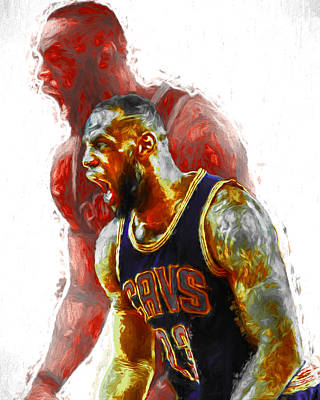 Lebron James 23 1 Cleveland Cavs Digital Painting Poster by David Haskett