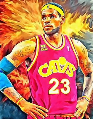 Lebron James Basketball Art Portrait Painting Poster