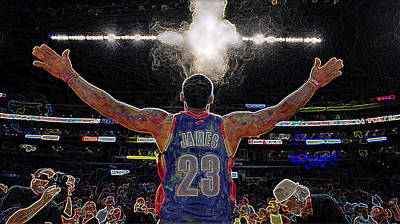 Lebron James Chalk Toss Basketball Art Landscape Painting Poster