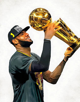 Lebron James Cleveland Cavaliers Champions Portrait Painting Poster by Andres Ramos