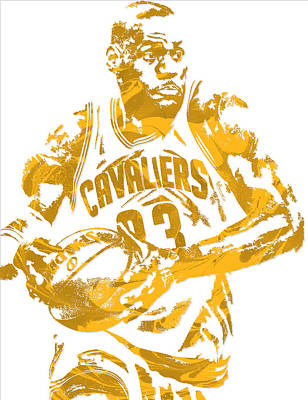 Lebron James Cleveland Cavaliers Pixel Art 6 Poster by Joe Hamilton
