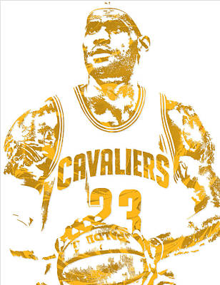Lebron James Cleveland Cavaliers Pixel Art 8 Poster by Joe Hamilton