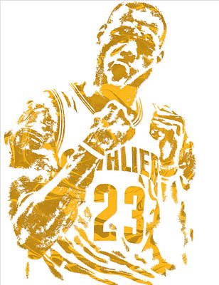Lebron James Cleveland Cavaliers Pixel Art 9 Poster by Joe Hamilton