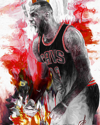 Lebron James Cleveland Cavs Digital Painting Poster by David Haskett