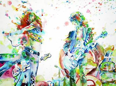 Led Zeppelin Live Concert - Watercolor Portrait.1 Poster by Fabrizio Cassetta