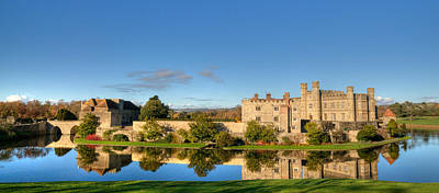 Leeds Castle And Moat Reflections Poster