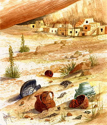 Poster featuring the painting Left Behind - Indian Pottery by Marilyn Smith