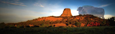 Legend Of The Buffalo Devils Tower National Monument Wyoming Panorama Poster